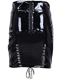 iEFiEL Damen Rock wetlook glänzender Minirock mit Schürung schwarzer Lack-Optik Leder Rock Gothic Röcke Clubwear S M L XL
