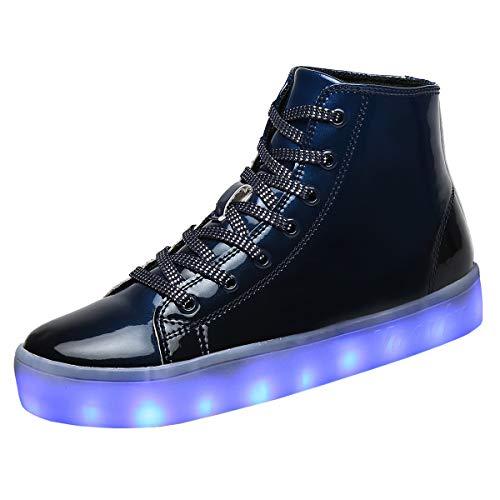 Voovix Kinder Schuhe mit Licht LED Leuchtende Blinkende High-Top Sneaker Mädchen Jungen USB Aufladen Turnschuhe(Blau,36)