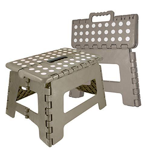 Oramics Klapphocker faltbar - 29 x 22 x 22 cm belastbar bis 100 Kg - praktischer Kunststoff Tritt-Hocker Klapptritt Trittleiter klappbar (Grau)