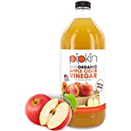 Pipkin 1000ml Raw 100% Organic Apple Cider Vinegar with The Mother, Non-GMO Cloudy ACV Pure Cold Pressed, Unrefined, Unfiltered, Unpasteurized, 5% Acidity, Vegan & Vegetarian Friendly (Glass Bottle)