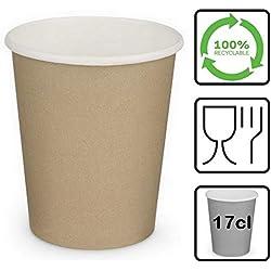 LE PETIT FOURNISSEUR | 500 Gobelets Carton Brun 17cl | 100% Recyclable | Boissons Chaudes ou Froides