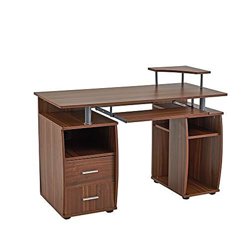 Keinode Computer-Schreibtisch mit Regalböden, Schrank und Schubladen, Tastatur-Ablage, Holzrahmen, Tisch, PC Laptop, Gaming-Tisch, Multifunktions-Computer-Arbeitsplatz für Home Office walnuss -