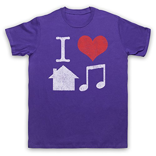 I Love House Music Slogan Herren T-Shirt Violett