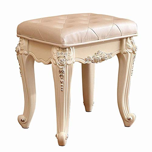 Französisch Esszimmer-möbel (GZ Kleiner Hocker Französische Retro-Schuhbank Geschnitzter, Quadratischer, Hoher Rückprallschwamm,Silber,1)