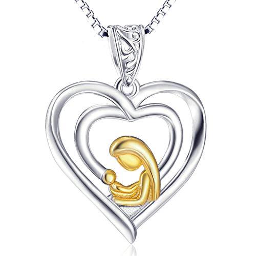 XINGYU 925 Sterling Silber Schmuck HerzanhäNger Christian Religious Braid Halsketten Aus 18 Karat Gold Muttertag Paar Frauen, 18