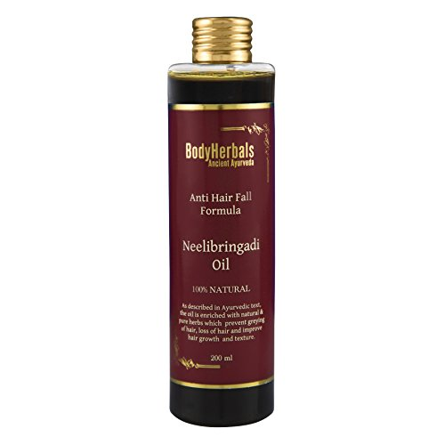 BodyHerbals Neelibringadi Hair Oil, Ayurveda 100% Natural Anti- Hair Fall, Prevents Greying of Hair & Loss of Hair. Improves Hair Growth & Texture. Hair, Skin Care (200 ml)