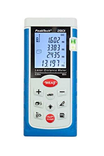 Preisvergleich Produktbild PeakTech hochwertiges LASER-Entfernungsmessgerät 0,05M ... 60 M - mit Beleuchteter LCD-Anzeige und Wasserwaage, 1 Stück, P 2801