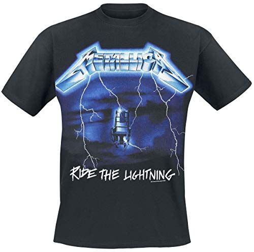 Metallica Ride The Lightning Tracks_Men_BL_TS: M Camiseta, Negro...
