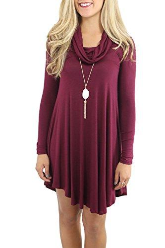 Frauen lässig lockeren Swing-Mini-Kleid Red