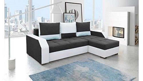 JUSTyou Aris Canapé d'angle Sofa canapé lit Tissu Simili Cuir (HxLxl): 90x245x150 cm Blanc Noir Angle Droit