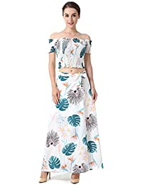 25ffc38d2df90 Ladieshow Donna Estate Casual Chiffon Stampa Floreale Sexy off Crop Top +  Maxi Gonna Set 2
