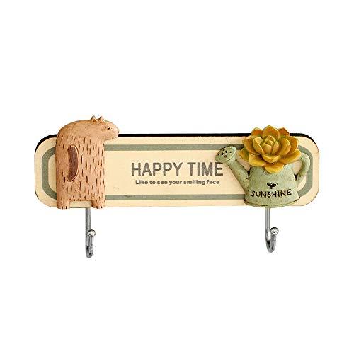 Wmaple Simpatici ganci adesivi per animali e piante per ganci da cucina per casa Colore del legno 14.9 * 3,8 centimetri