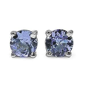 Bijoux Schmidt-Boucles d'oreilles avec Tanzanite rhodium-925-1 Argent, 20 carats