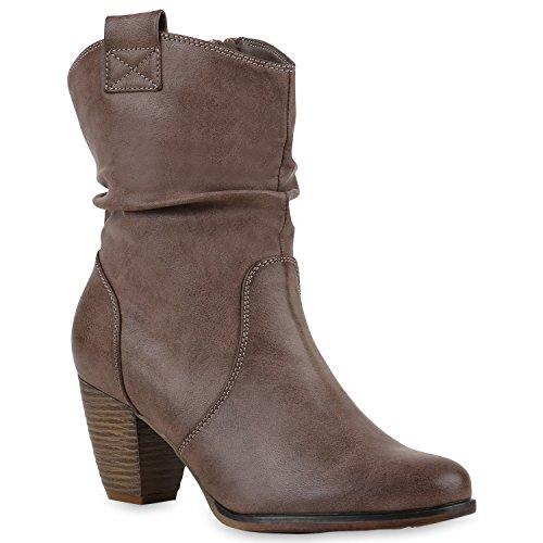 Damen Stiefeletten Cowboy Boots Holzoptikabsatz Stiefel Schlupfstiefel Blockabsatz Wildleder-Optik Schuhe 123462 Khaki Cabanas 39 Flandell (Stiefel Braun Cowboy)