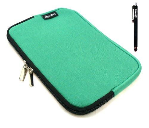 Emartbuy® Schwarz Stylus + Grün Wasser Resistant Neoprene Weich Zip Case Cover Tasche Hülle Sleeve Für I.onik TP - 1200QC 7.85 Inch Tablet (8 -Zoll-Tablet)
