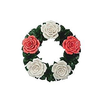 Flores funerarias – Corona floral de cerámica rojo-blanco – Flores de tumbas – Flores de cementerio – Flores funeral – Rosas – Decoración de mesa o jardín -idea de regalo – Resistente a la intemperie
