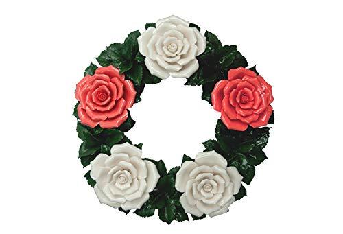 Flores funerarias - Corona floral de cerámica rojo-blanco - Flores de tumbas - Flores de cementerio - Flores funeral - Rosas - Decoración de mesa o jardín -idea de regalo - Resistente a la intemperie