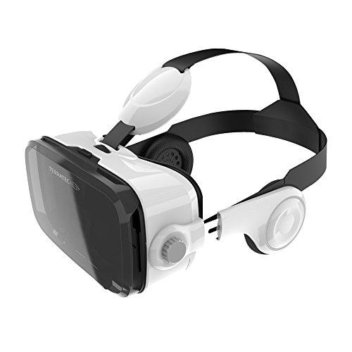TerraTec 218515 VR-2 Audio, Virtual Reality 3D-Brille für Smartphone mit intergriertem Kopfhörer weiß
