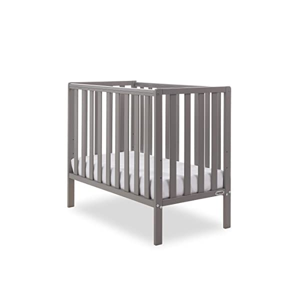 Obaby Bantam Space Saver Cot - Taupe Grey Obaby Adjustable, 3 position base height Beautiful slatted ends and sides help you keep an eye on your little one Teething rails ensure delicate teeth are protected 1