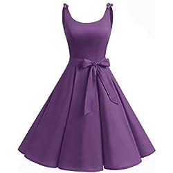 Bbonlinedress Vestidos de 1950 Estampado Vintage Retro Cóctel Rockabilly con Lazo Purple M
