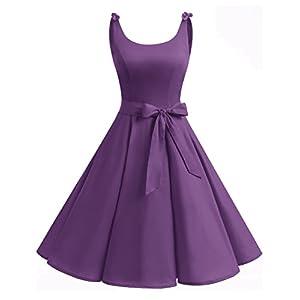 Bbonlinedress 1950er Vintage Polka Dots Pinup Retro Rockabilly Kleid Cocktailkleider Purple XS