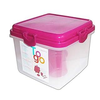 Anik-Shop Lunchbox mit Besteck Kühlakku Brotdose to go Salatbox Frühstücksbox Frischhaltebox Kühlkörper 2-Varianten 49 (Pink)