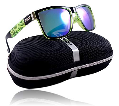 WinLook - Sonnenbrille aus polarisiertem und zertifiziertem UV400 - bequem und leicht - elegantes Design- gratis Schutz Etui - Neuheit 2019 - DUBERY (Schwarz&Grün/Grün)