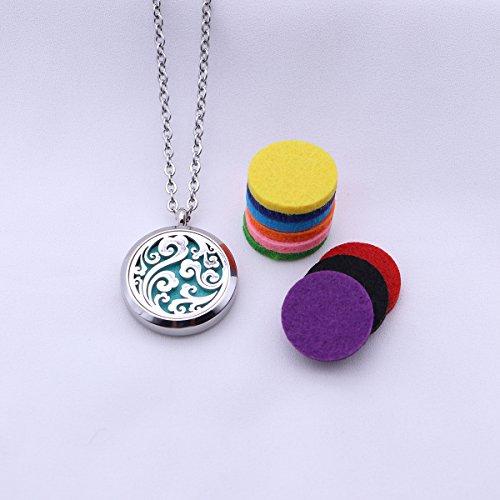 Lurrose Halskette mit ätherischem Öl-Diffusor Aromatherapie-Diffusor-Medaillon-Anhänger mit 10 Farb-Nachfüllpads (öl Halsketten Diffusor)