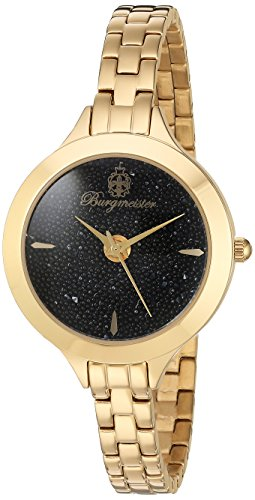 Burgmeister Women's Quartz Watch with Black Dial Analogue Display and Gold Stainless Steel Bracelet BM536-222