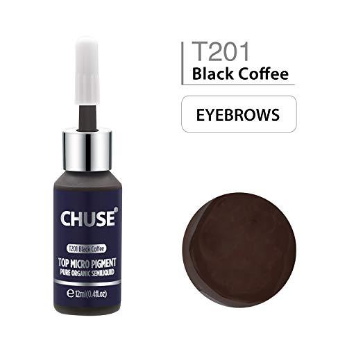 CHUSE T201 Café noir Couleur cosmétique permanente d'encre de tatouage de maquillage de micro-colorant de Microblading SGS passé, DermaTest 12ml (0.4fl.oz)