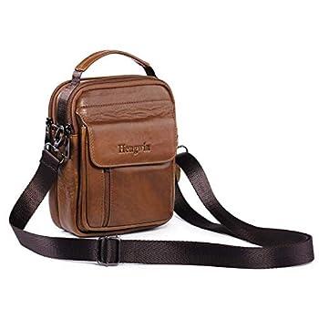 009185525b1 Leather Man Bag, Men Shoulder Bag Small Messenger Cross Body Bag Handbag  Mobile Phone Belt Pouch with Top Handle Shoulder Strap for Travel Flight  Trip Work ...
