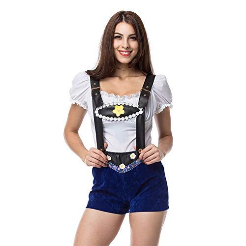 Leder Shorts Kostüm - FairOnly Frau Leder Sling Hohe Taille Shorts Anzug Halloween Special Festival Kostüm Bar Kellnerin Anzug Blue S/M