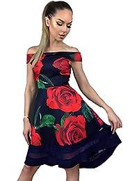 5718649d6 Re Tech UK Mujer Floral Bardot Hombro Descubierto Dip Vestido Dobladillo  Skater sin Mangas Aplicación de