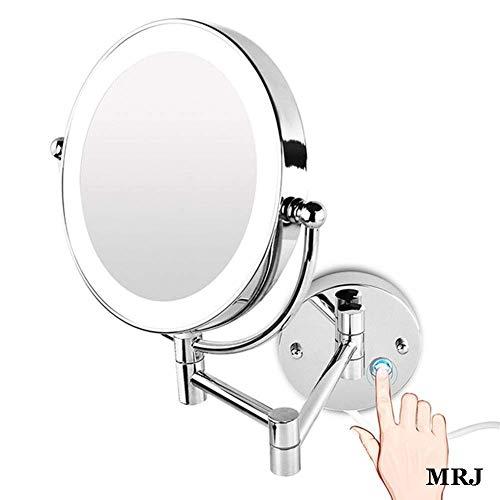 Espejo de afeitar para baño Montado en la pared Espejo de maquillaje de 8,5 pulgadas con luces LED...