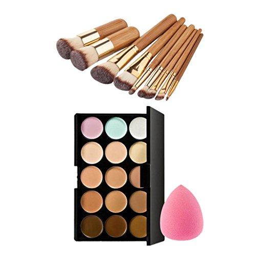 MagiDeal Kit de 15 Couleurs Palette Concealer Contour Maquillage + 9pcs Pinceaux Maquilllage Visage et Yeux+ Eponge