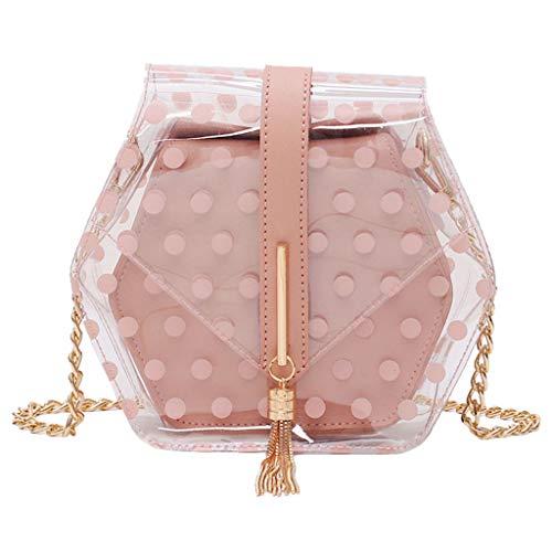 friendGG New Mode Damen Einfarbig Transparent Gelee Kette Schultertasche UmhäNgetaschen Rucksack Taschen Handtaschen Tasche