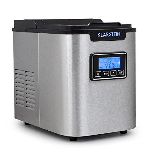 Klarstein Icemeister Eiswürfelmaschine Eiswürfelbereiter (Timer, 3 einstellbare Eiswürfelgrößen, 12 kg Eis am Tag, Eiswürfel in 15 Minuten) silber-schwarz