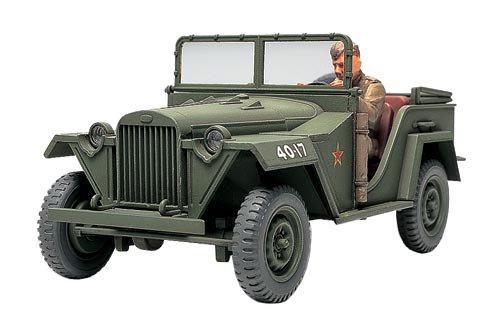 TAMIYA 300032542 - WWII RussischerGeländewagen GAZ-67B mit Figur, Militär-Bausatz 1:48