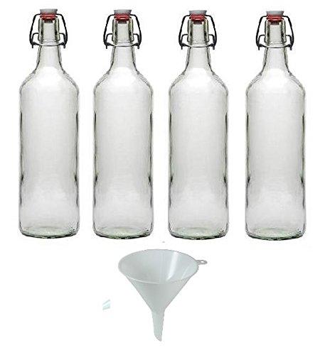 Viva Haushaltswaren - 4 x Glasflasche 1000 ml mit Bügelverschluss aus Porzellan zum Befüllen, als Milchflasche und Saftflasche verwendbar (inkl. Trichter Ø 12 cm) -