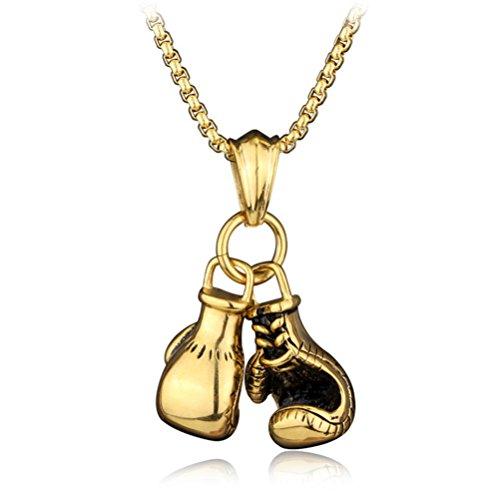 Flybloom Damen Männer Halskette Boxhandschuhe Anhänger Kette Halskette Pullover Ketten Charme Zubehör, Gold Farbe