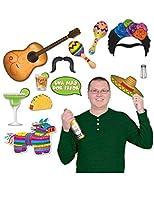 Ce kit photobooth se compose de 13 accessoires sur le thème du Mexique.Ce lot contient une fajita, un verre à cocktail, deux maracas, une moustache, une bulle, un verre à tequila, des cheveux avec un mono-sourcil, un sombrero, une pinata cheval mult...