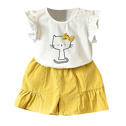 LEXUPE Baby Kleidung Mädchen, Kleinkind Kinder Outfits Kleidung Katze Bowknot T Shirt Tops Shorts Hose Set