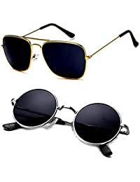 Y&S Latest 2019 Style Sunglasses Combo Set of 2 with 2 Boxes (KS-black+RDSB)