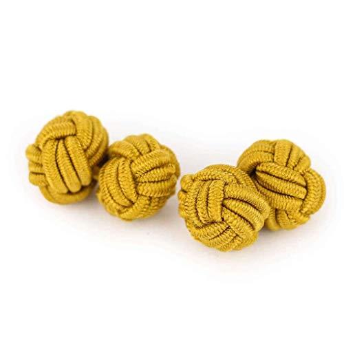 Insignitum Seidenknoten Manschettenknöpfe | Knoten | gold farbend metallic | Stoff Seidenknötchen | Handgefertigt | Für jedes Hemd mit Umschlagmanschette Manschette | Hochzeit