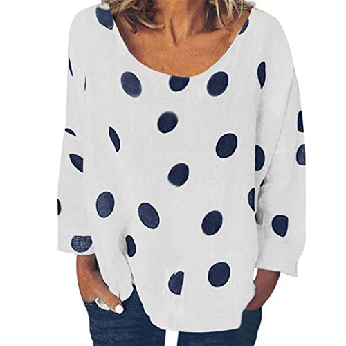 l Gepuntes Shirt Damen Sommer Langarm Bluse mit Rundhals Lose Lässiges Tank mit Dot Pint Shirt Oberteil Sommer Herbst Tunika Damen Oberteil Elegant Sexy (Weiß, EU-44/CN-3XL) ()
