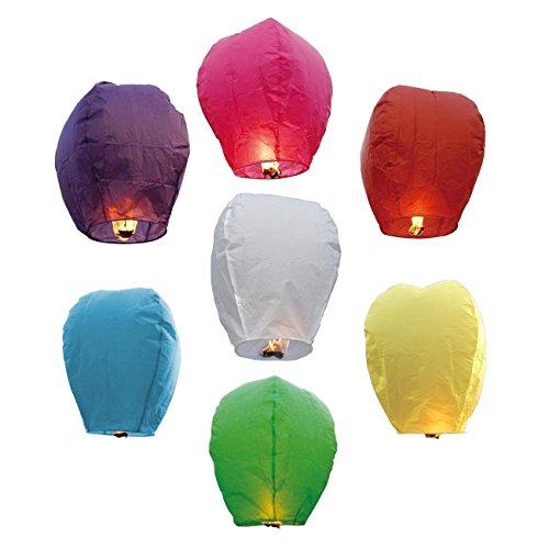 plixio 20Stück Flying Chinesische Sky Laternen mit Kerze für Partys, grabblumenhalter & weddings- Wishing Lampen in verschiedenen Farben