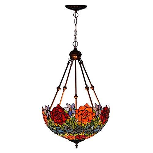 Tiffany-Art-Deckenleuchte, 18 Zoll-Buntglas-Farbton-Leuchter, 4 Arme, 3 Lichter Rose Invertierte Decken-hängende Hängende Lampen-Befestigung Für Esszimmer-Wohnzimmer-Schlafzimmer (Design : B-110V) -