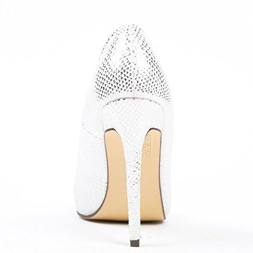Ideal Shoes–Escarpins pailletés effetto rettile madihana Bianco