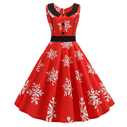 HHyyq Vintage Swing Dress in Retro Style of 50s, Rockabilly Dress with Pleated Skirt 1950s Vintage Rockabilly V-Neck Dress Retro Cocktail Dress Swing Dress Pleated Skirt(rot 1,XL)