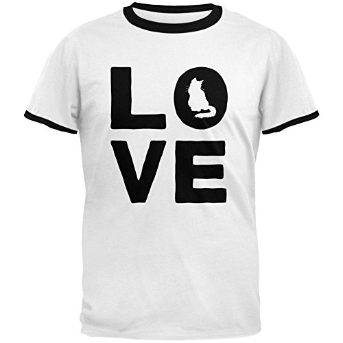 Old Glory Cat Love Mens Ringer T-Shirt Weiß-Schwarz 2XL (T-shirt Cat Ringer)